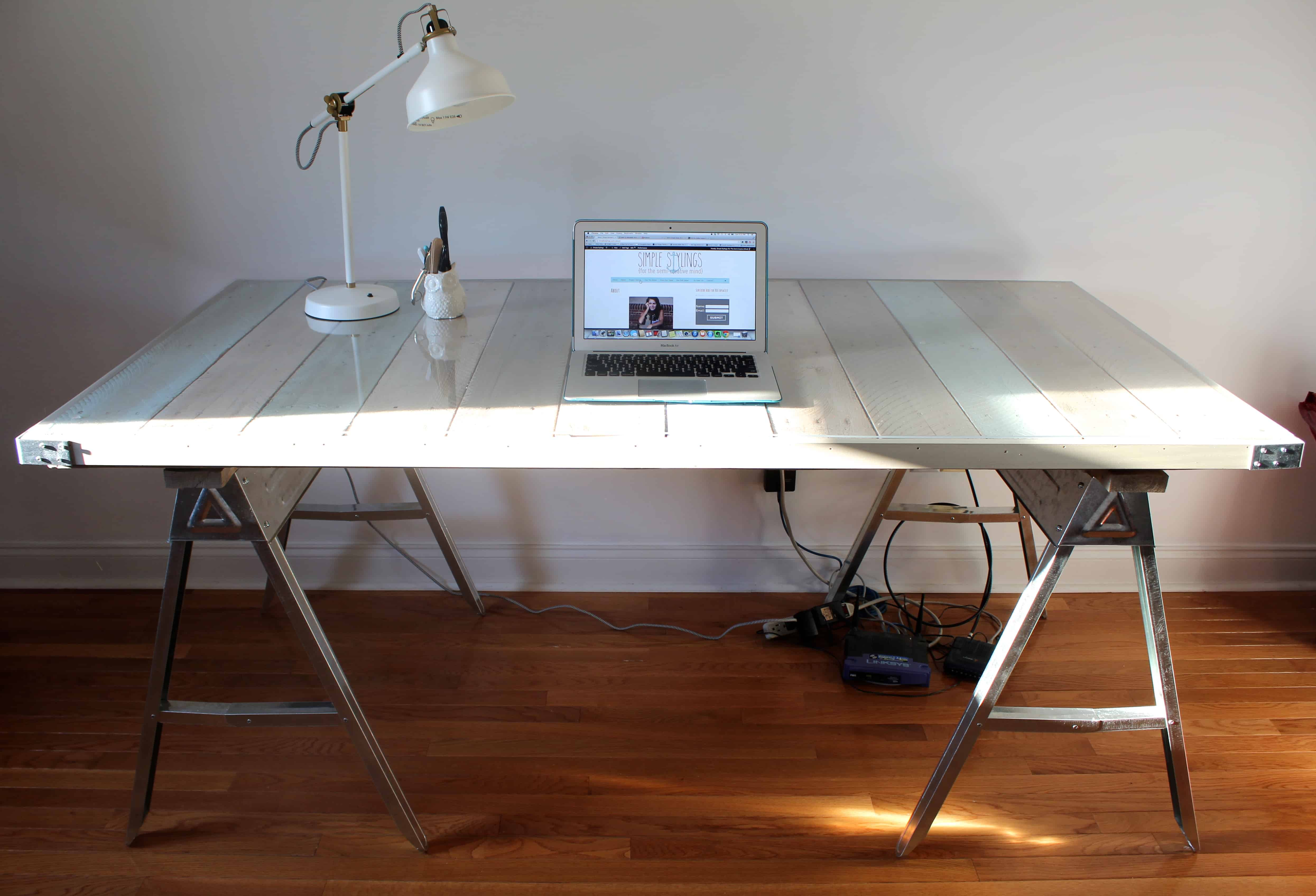 DIY Pallet And Sawhorse Desk The Reveal Simple Stylings