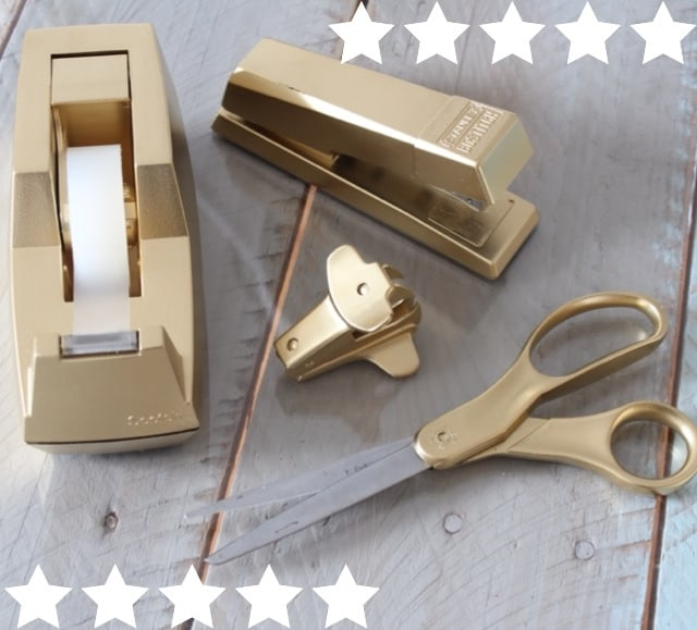Target knockoff gold desk accessories simple stylings for Diy desk stuff