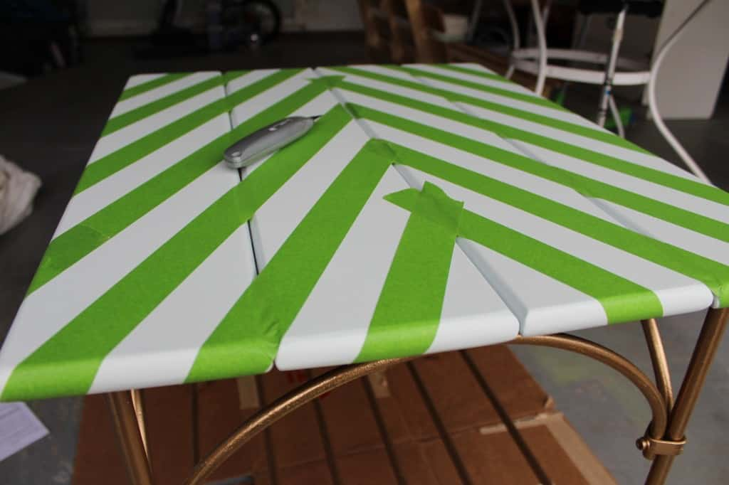 HERRINGBONE TABLE MAKEOVER by www.Simpe Stylings.com
