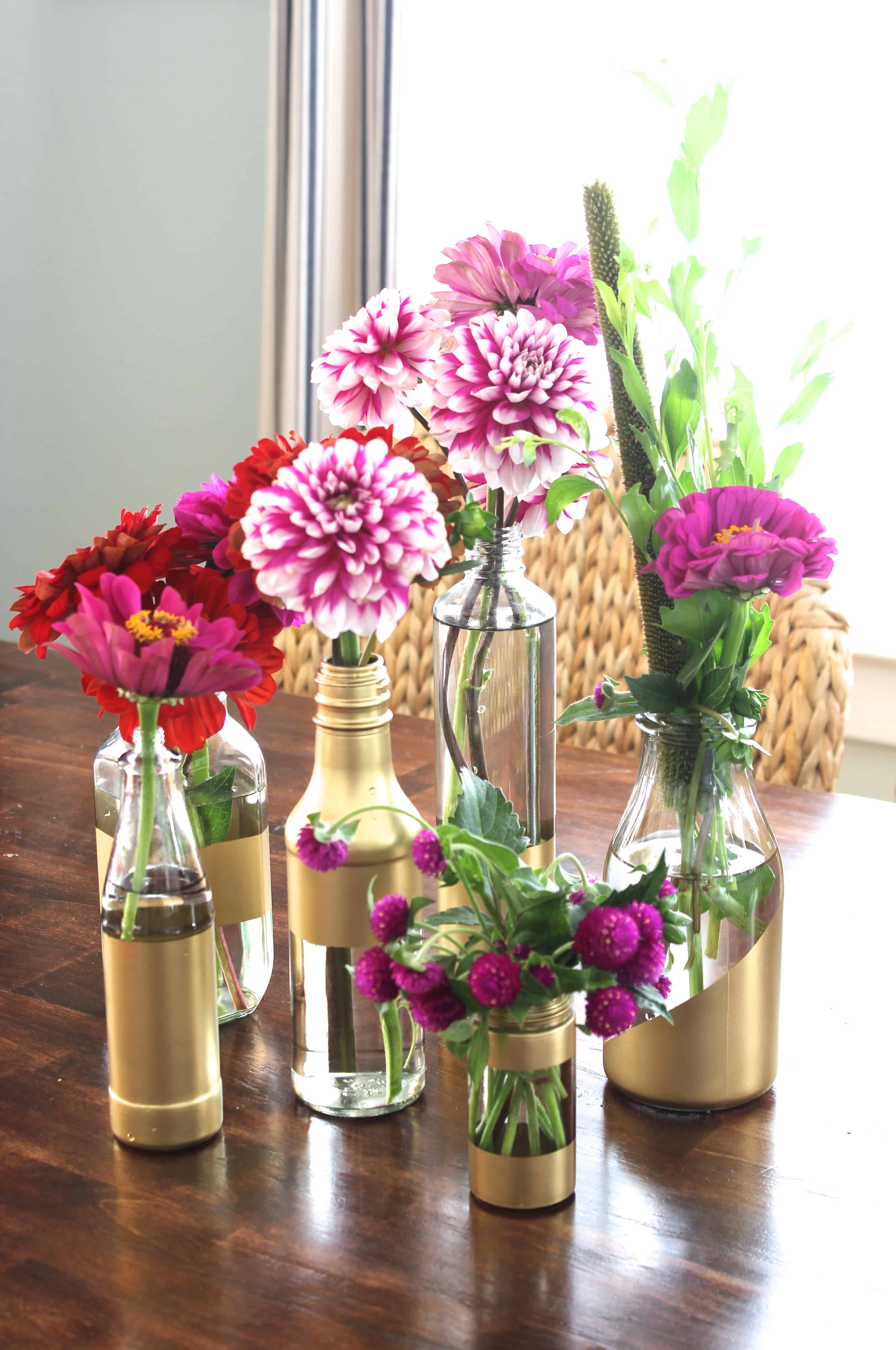 Diy gilded vases from condiment bottles simple stylings