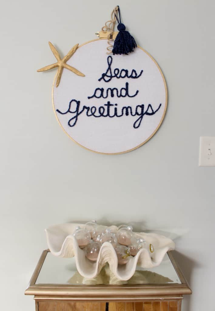 DIY Embroidery Hoop Wall Hanging Holiday Thrift Store