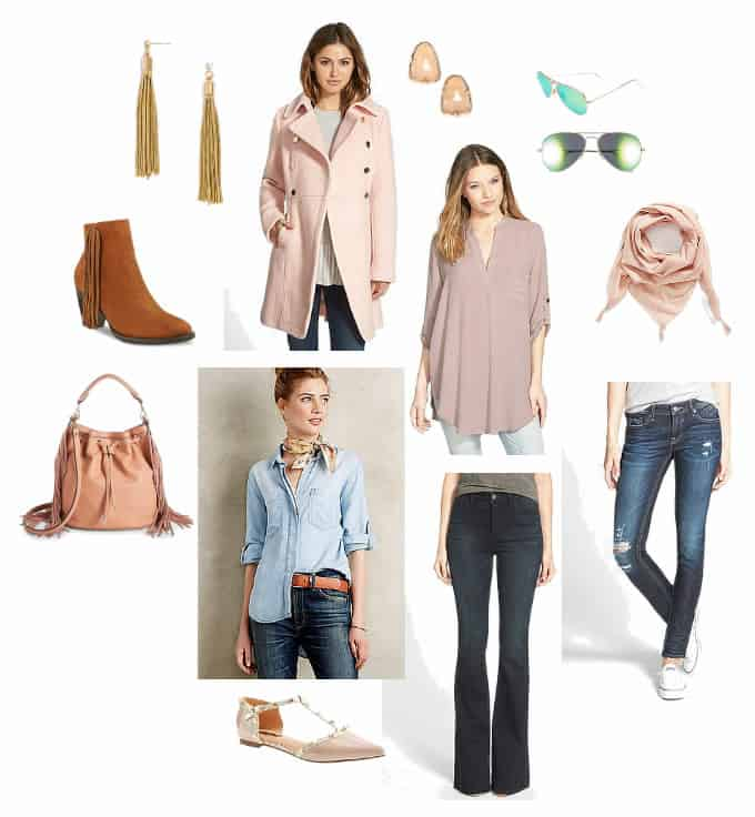 blush and blue outfit fall transition skinny jeans ankle booties