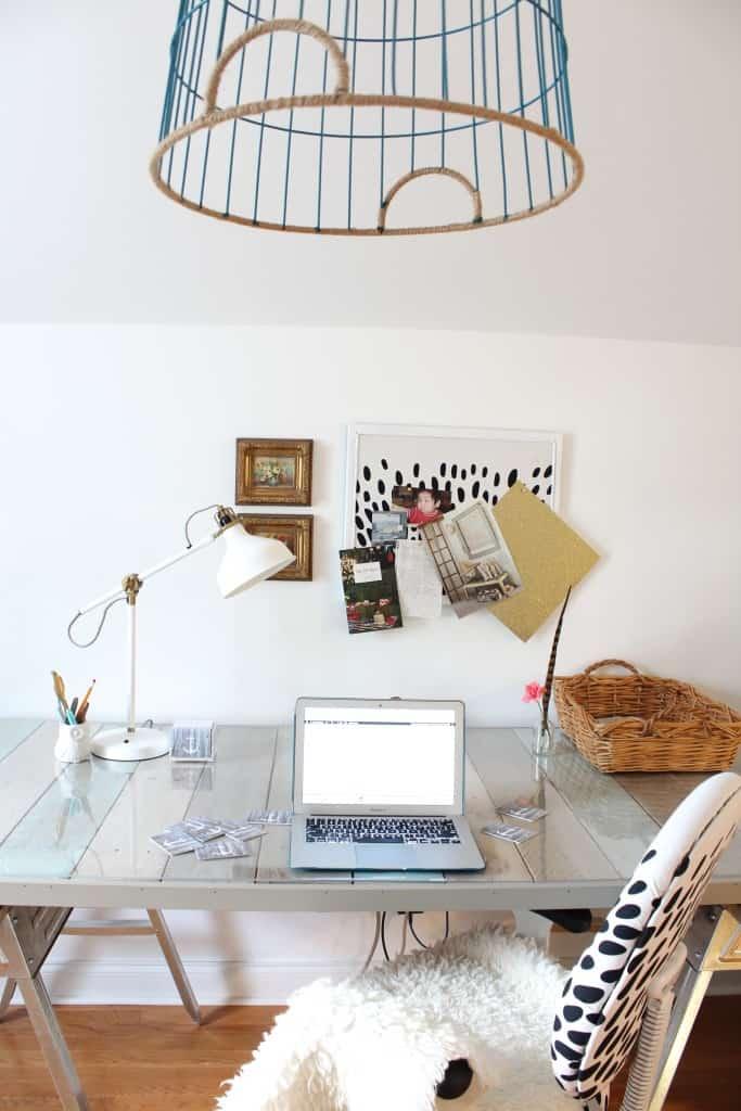 DIY Pallet Desk and Office Reveal sawhorse desk office makeover