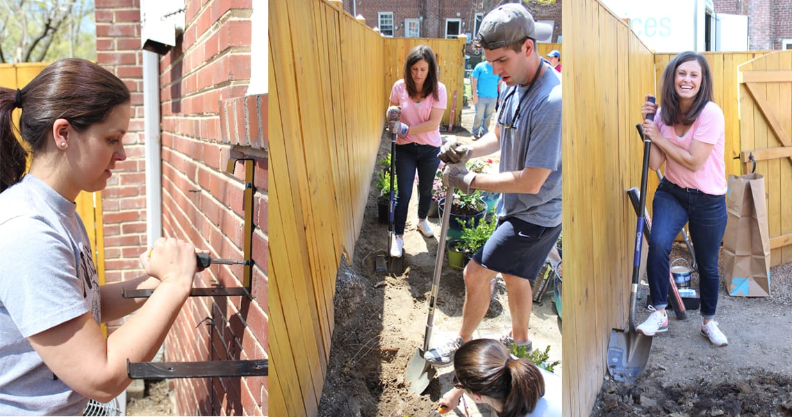 Backyard and patio makeover homeowners working