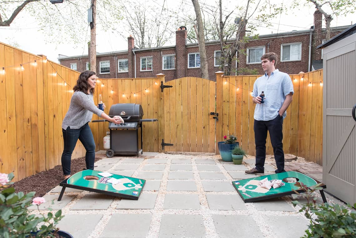 Backyard and patio makeover corn hole