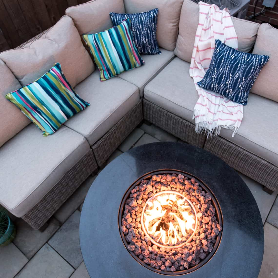 Backyard and patio makeover firepit