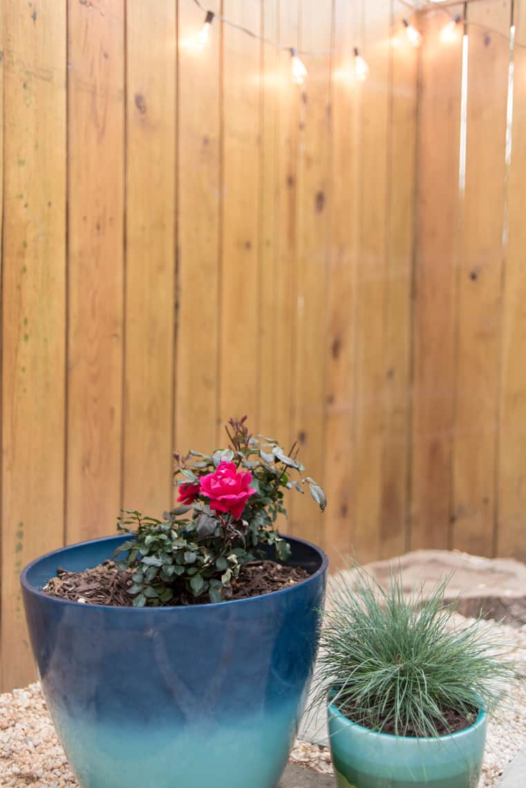 Backyard and patio makeover two toned planters