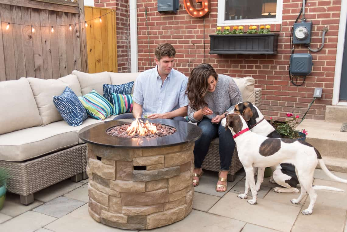 Backyard and patio makeover Lowe's conversation set and fireplace
