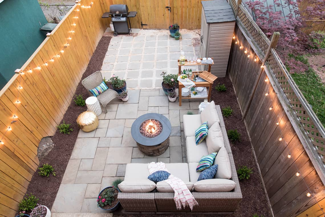 Backyard and patio makeover after picture view from above