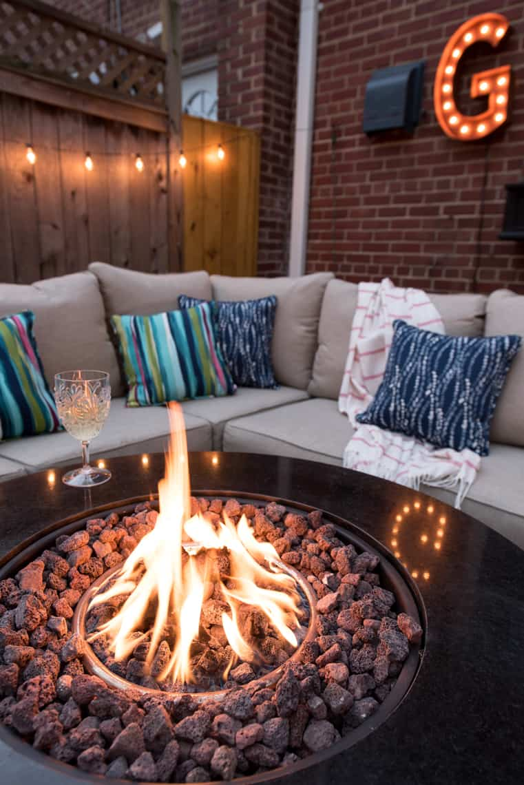 Backyard and patio makeover marquee light