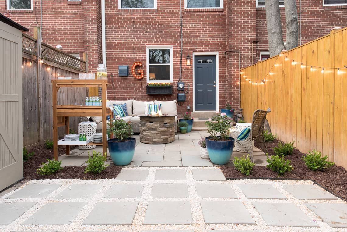 Backyard and patio makeover after picture