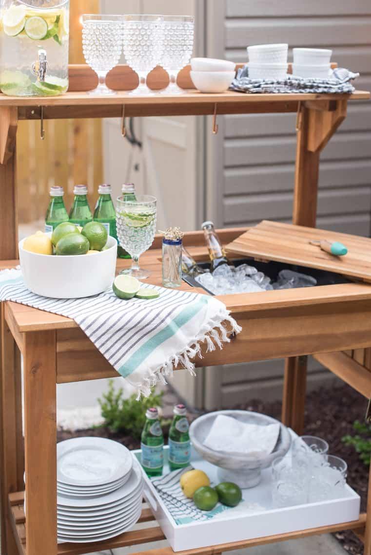 Backyard and patio makeover potting bent turned beverage station