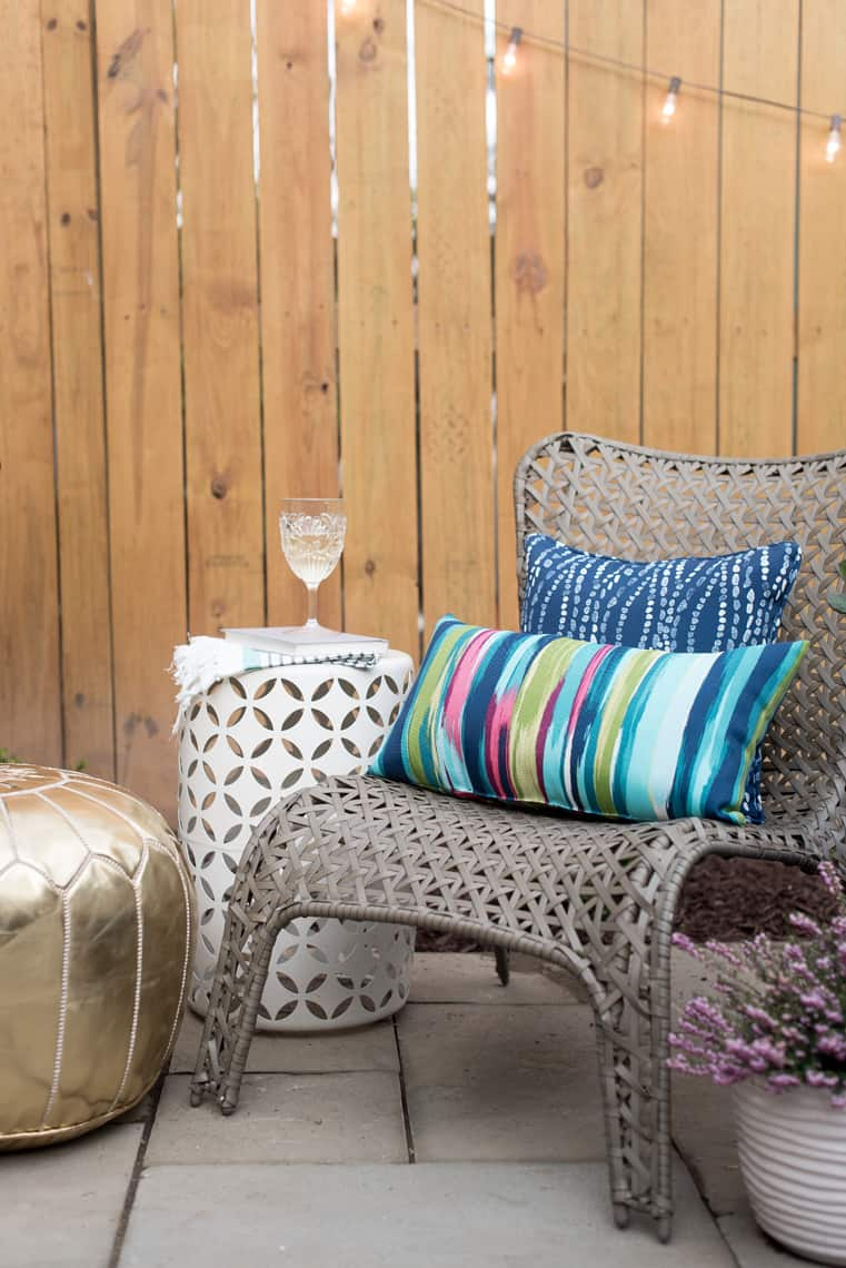 Backyard and patio makeover lounge chair and pillows