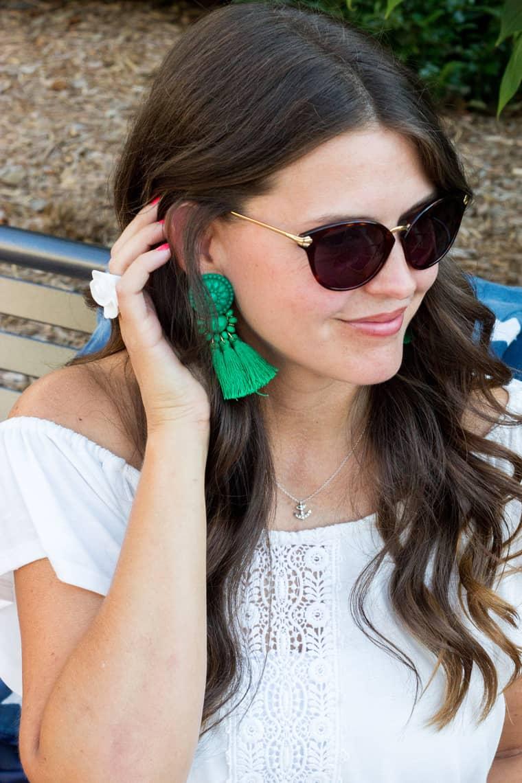 4th of July Style: White Romper & Birks tassel earrings