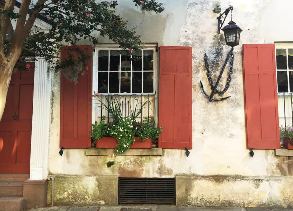 Charleston Window Box red shutters