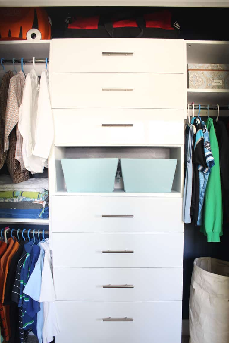 My Son's New Closet Organizing System finished