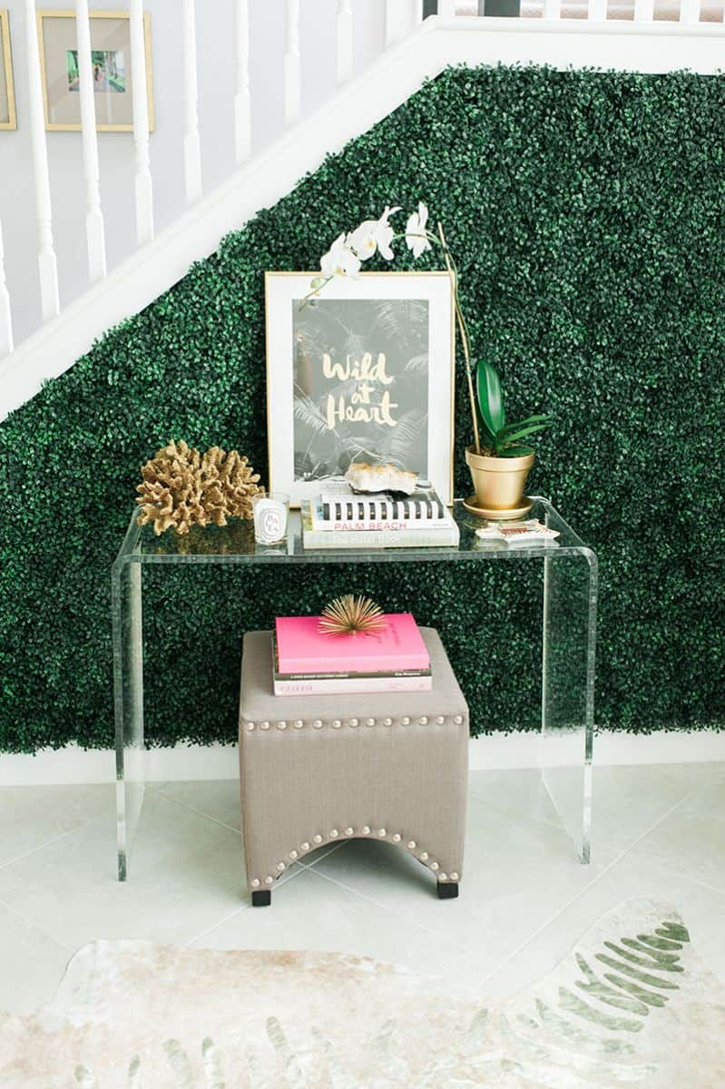 Interior Design Trend: Artificial Boxwood entry wall