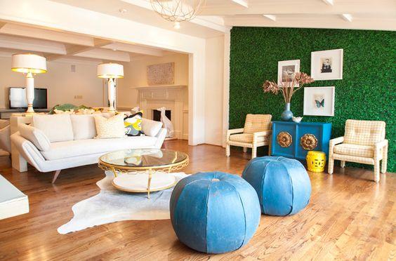Interior Design Trend: Artificial Boxwood focal wall