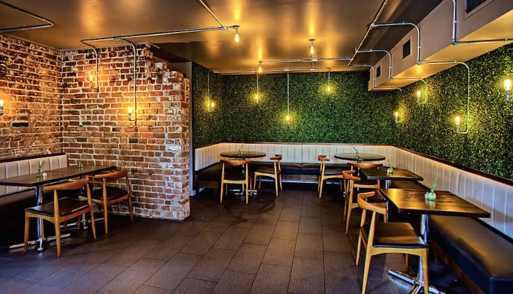 Example accent wall at public kitchen in savannah