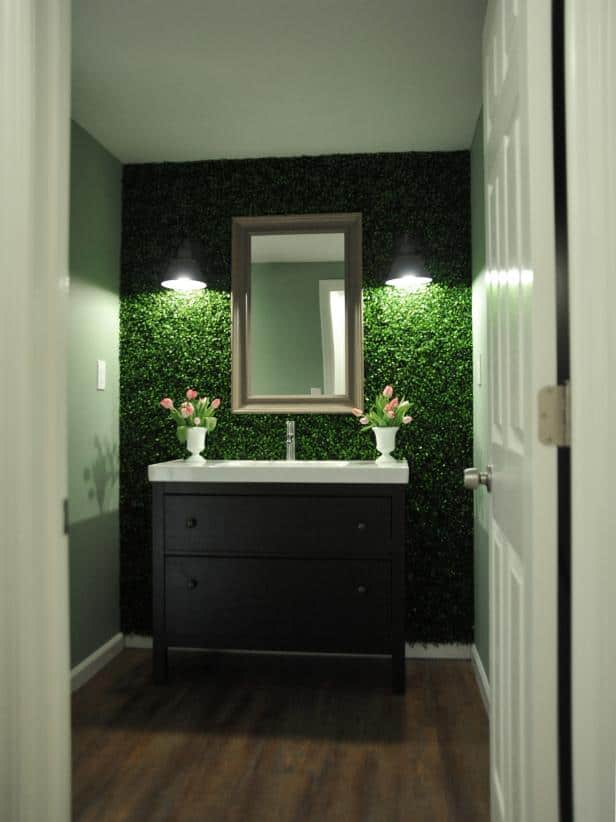 Interior Design Trend: Artificial Boxwood bathroom