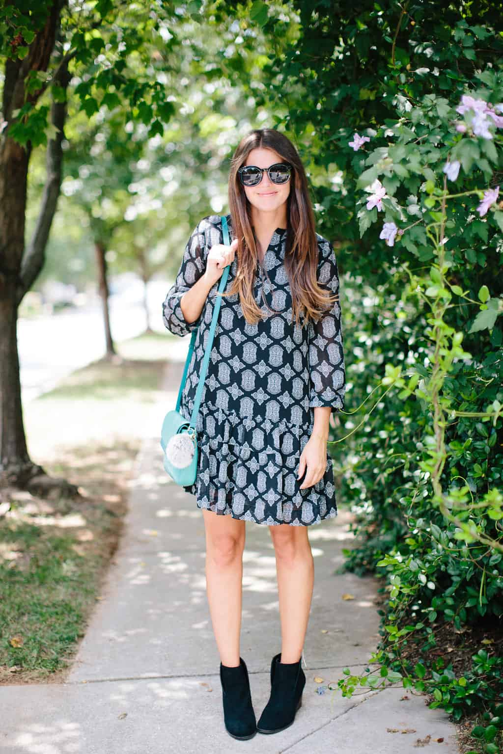 Fall-Transition-Outfit-Drop-Waist-Dress-Ankle-Booties-sunnies