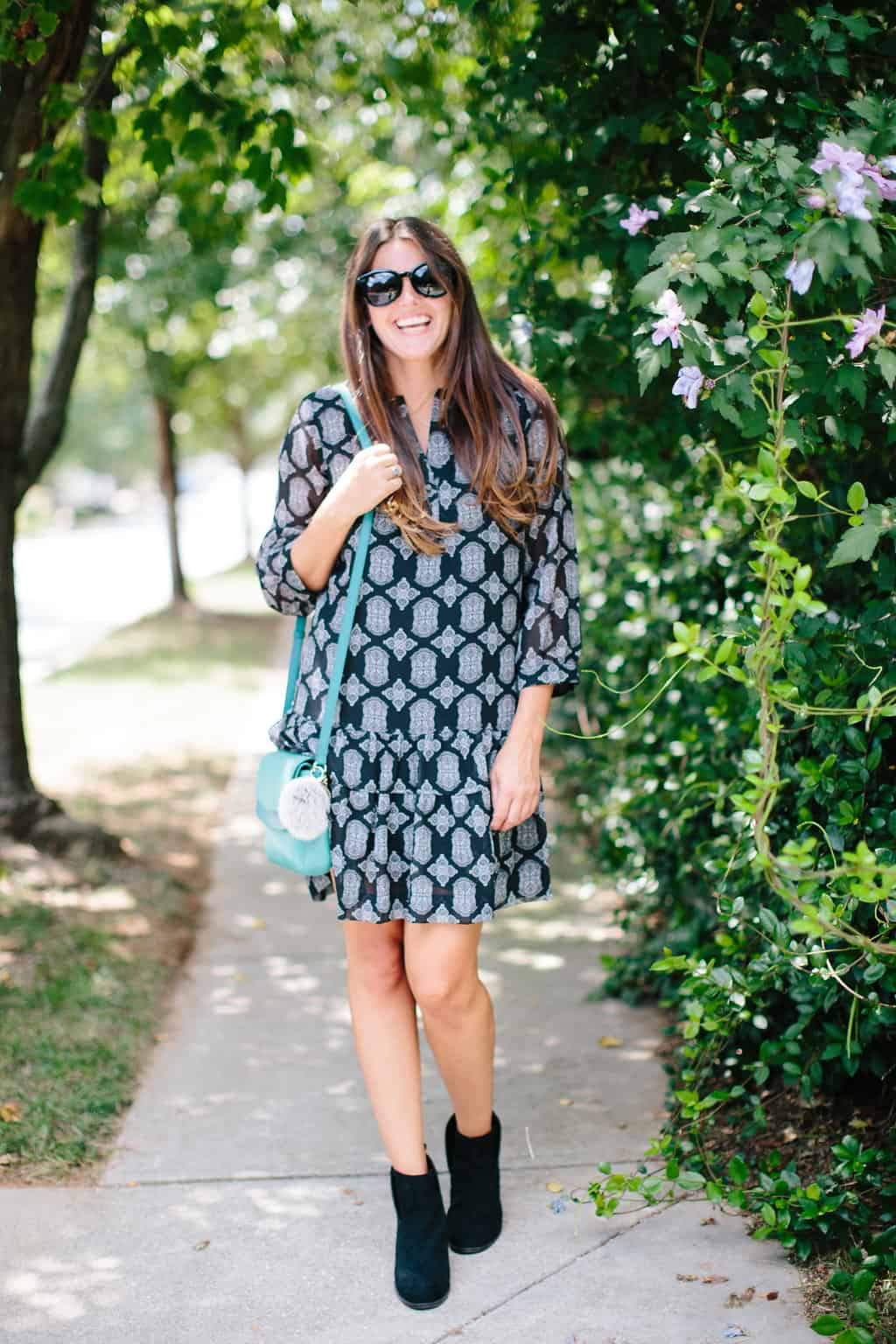 Fall-Transition-Outfit-Drop-Waist-Dress-Ankle-Booties-fall