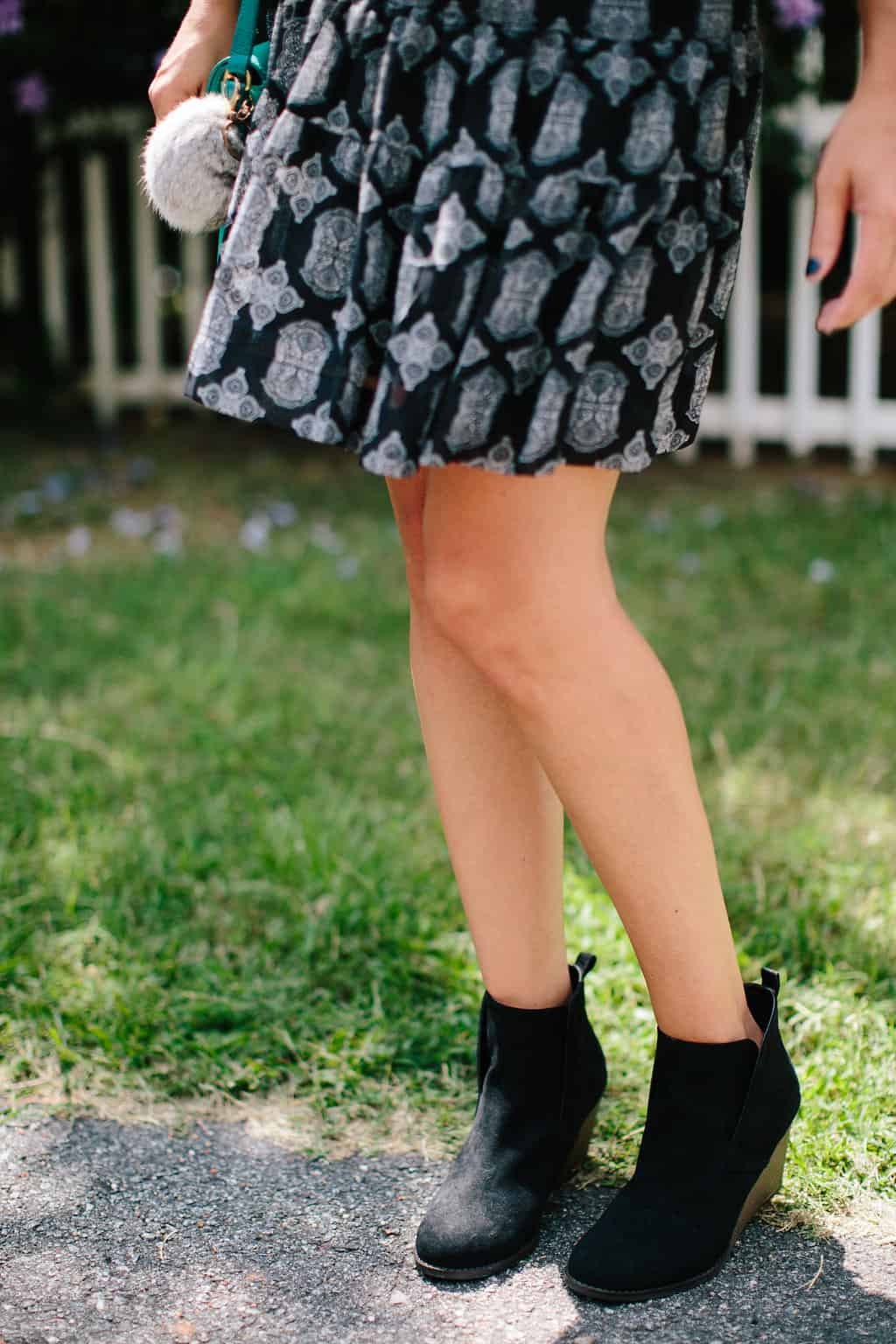 Fall-Transition-Outfit-Drop-Waist-Dress-Ankle-Booties-fall-fashion