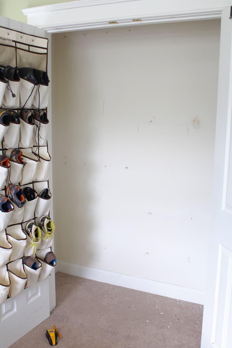 My Son's New Closet Organizing System prep