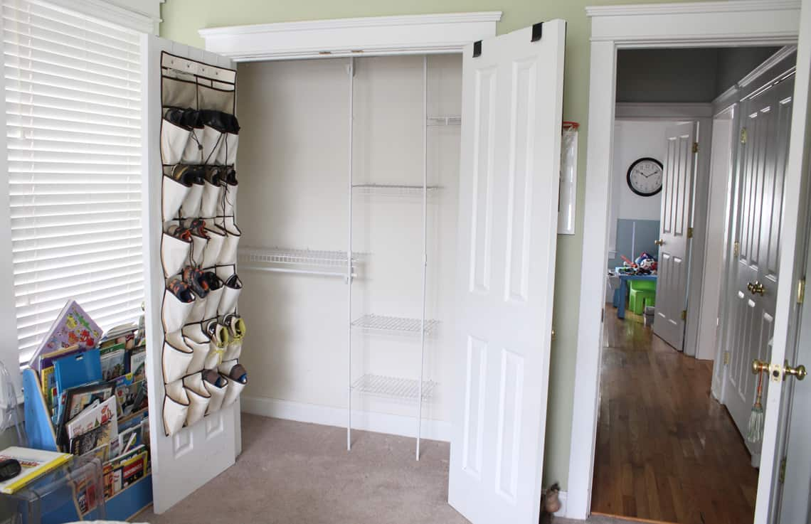 My Son's New Closet Organizing System before