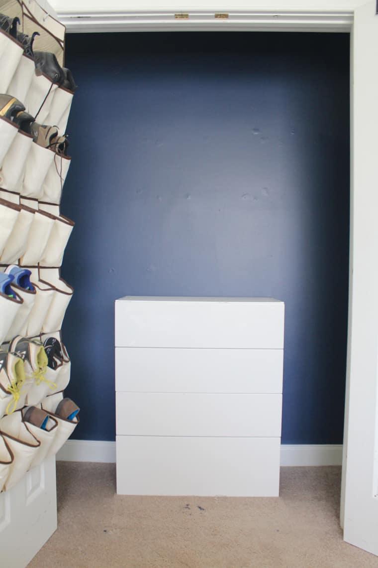 My Son's New Closet Organizing System paint