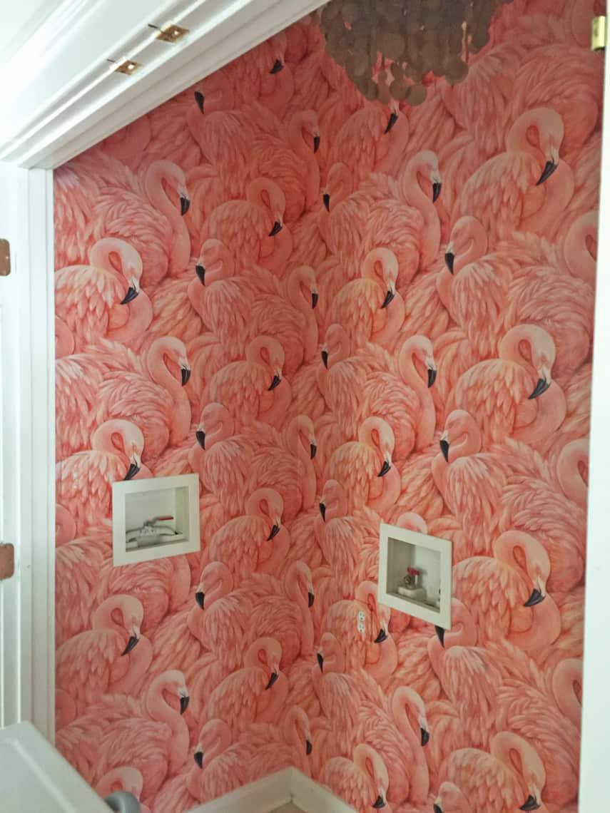 One-Room-Challenge-Week-4-Flamingo-Wallpaper-laundry