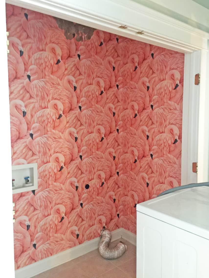 One-Room-Challenge-Week-4-Flamingo-Wallpaper-pink