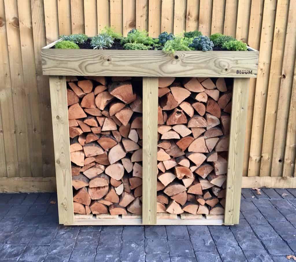DIY Outdoor Firewood Storage Rack Ideas planter