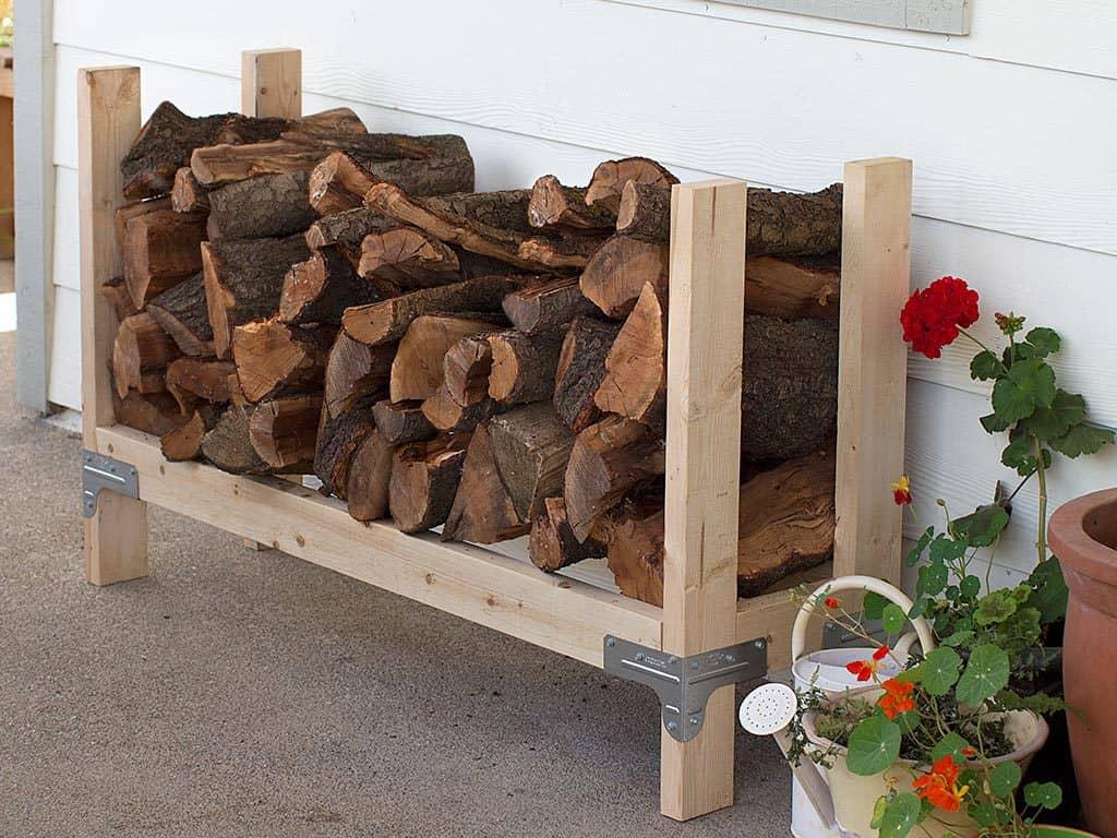 DIY Outdoor Firewood Storage Rack Ideas simple