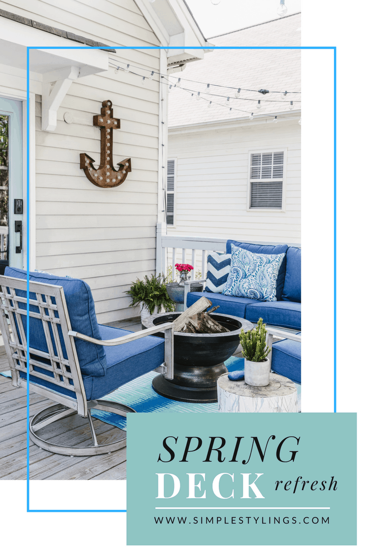 Our Beach-Inspired Deck Makeover with At Home pin