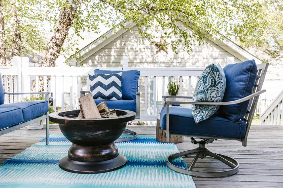 Our Beach-Inspired Deck Makeover with At Home rug