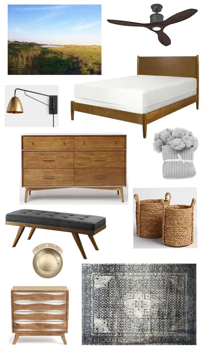 A Modern + Neutral Masculine Bedroom Update design board