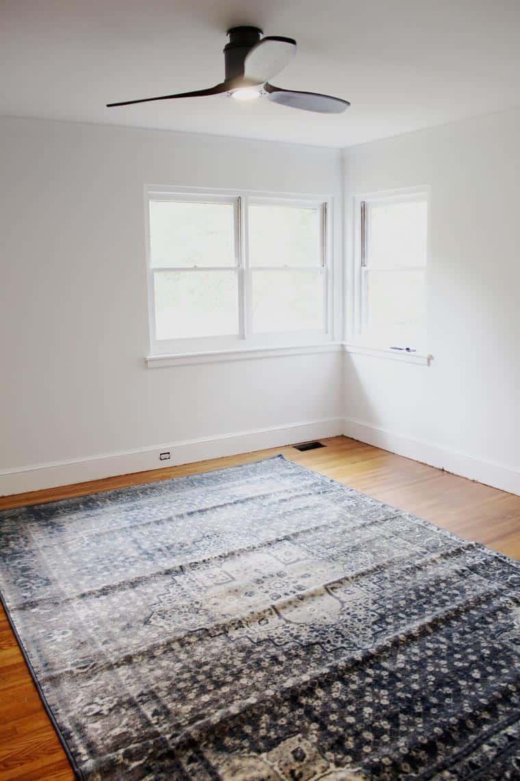 A Modern + Neutral Masculine Bedroom Update rug