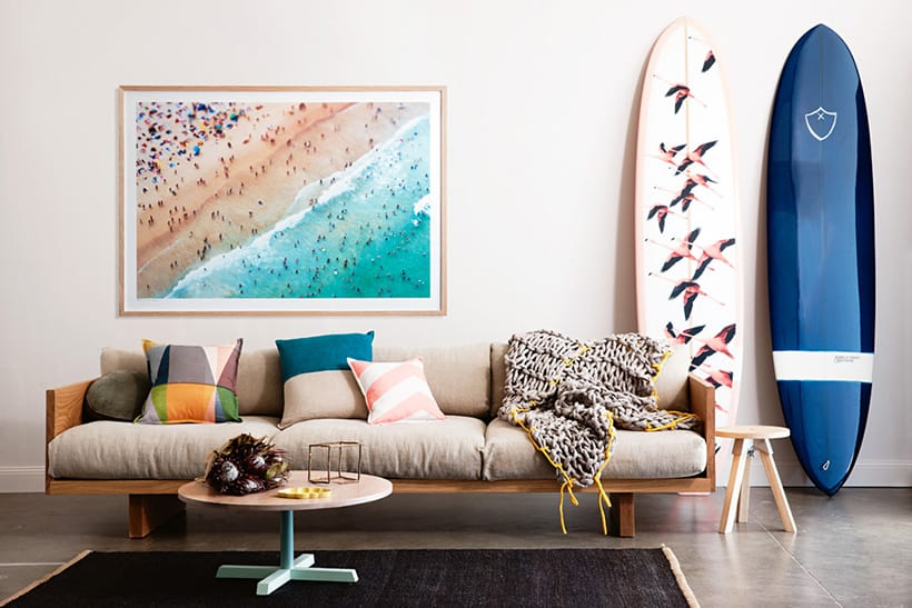 Get The Look California style home decor look coastal art print and surfboards