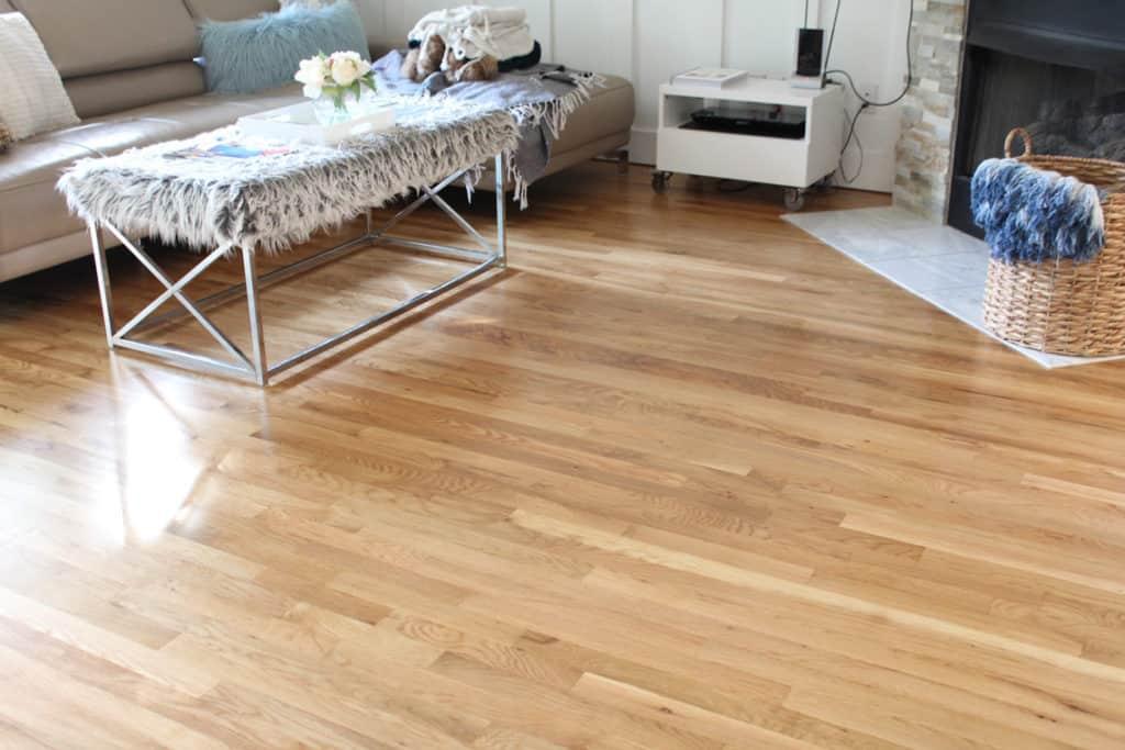 Before + After: New & Refinished Hardwood Floors after living room