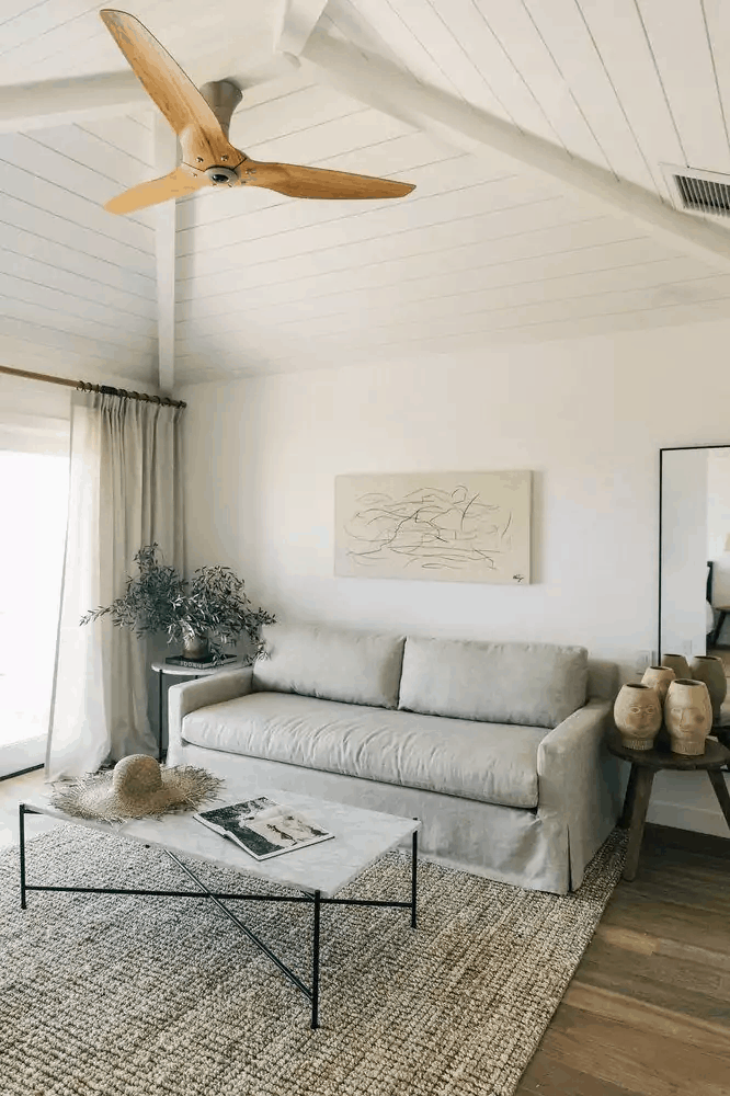 Slip covered furniture for casual living in this California style home