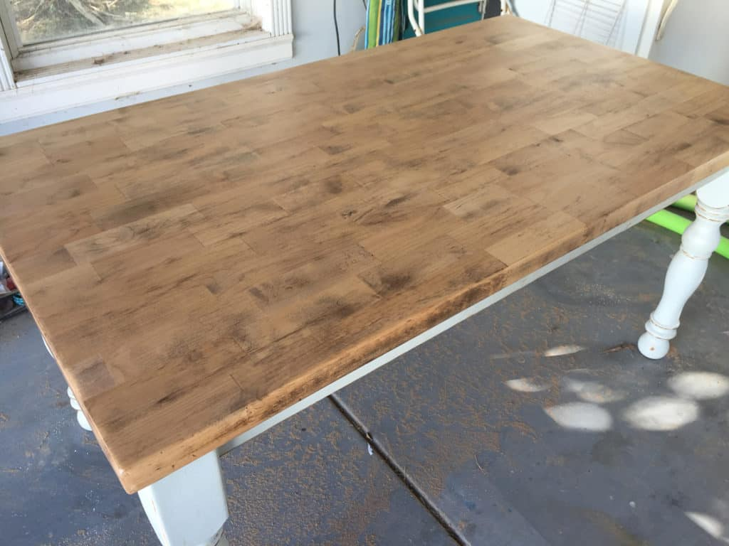 How To Refinish A Natural Wood Dining Room Tabletop final coat