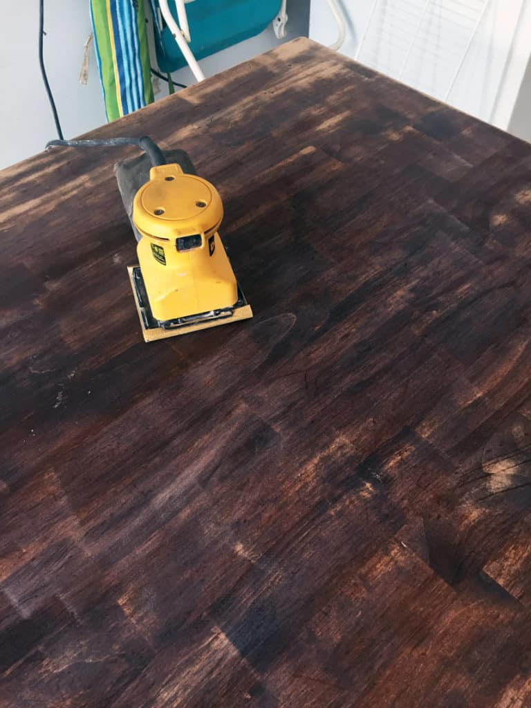 How To Refinish A Natural Wood Dining Room Tabletop sanding