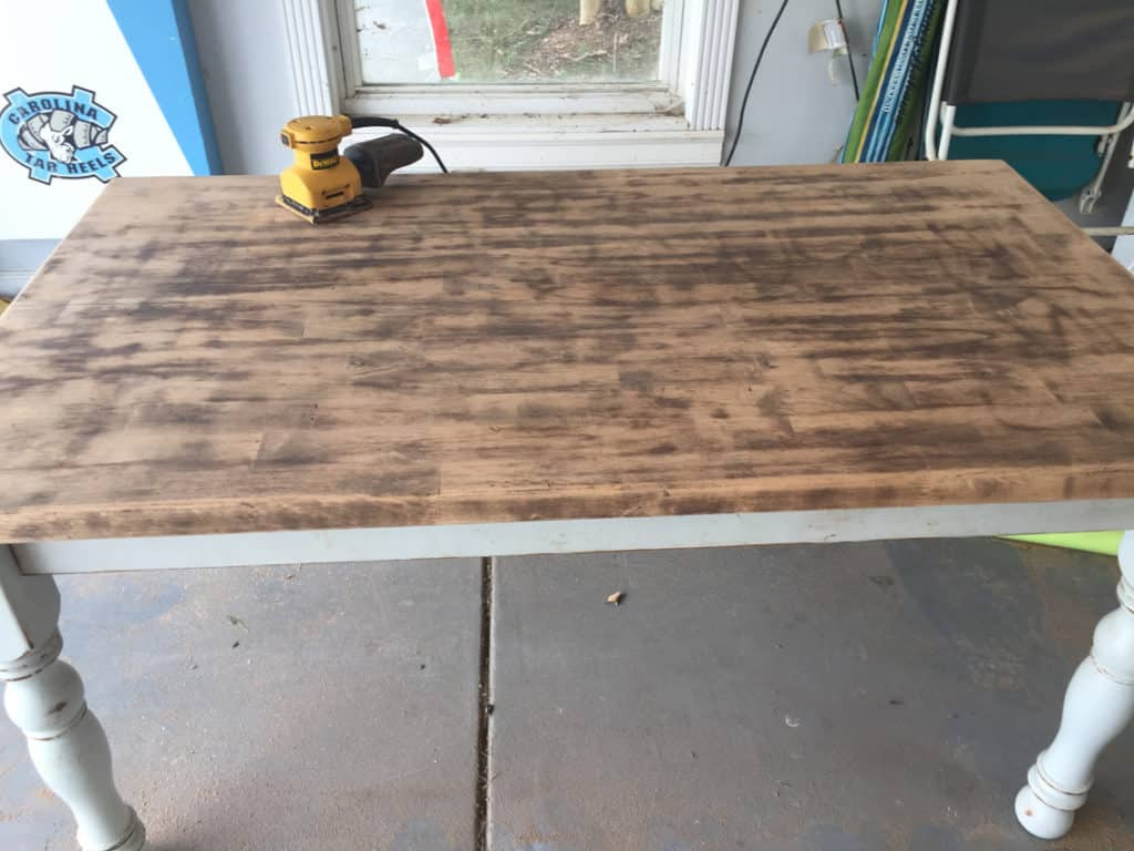 How To Refinish A Natural Wood Dining Room Tabletop sanding process