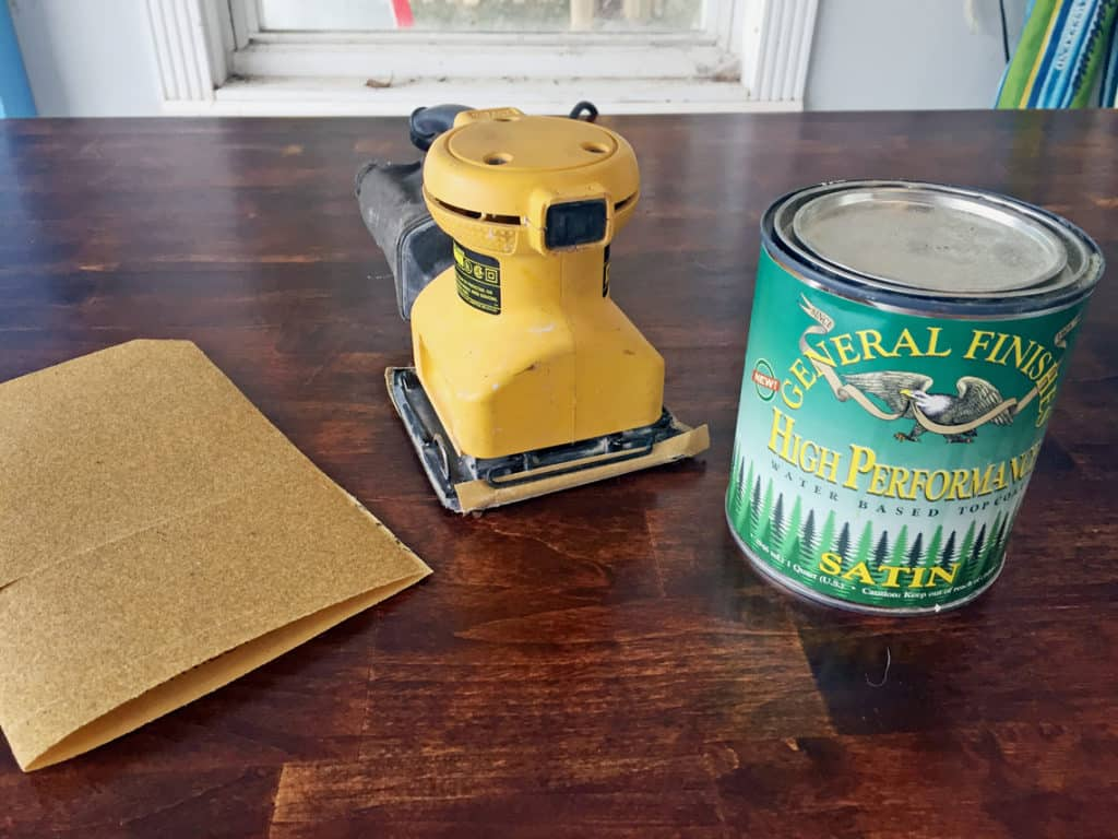 How To Refinish A Natural Wood Dining Room Tabletop tools