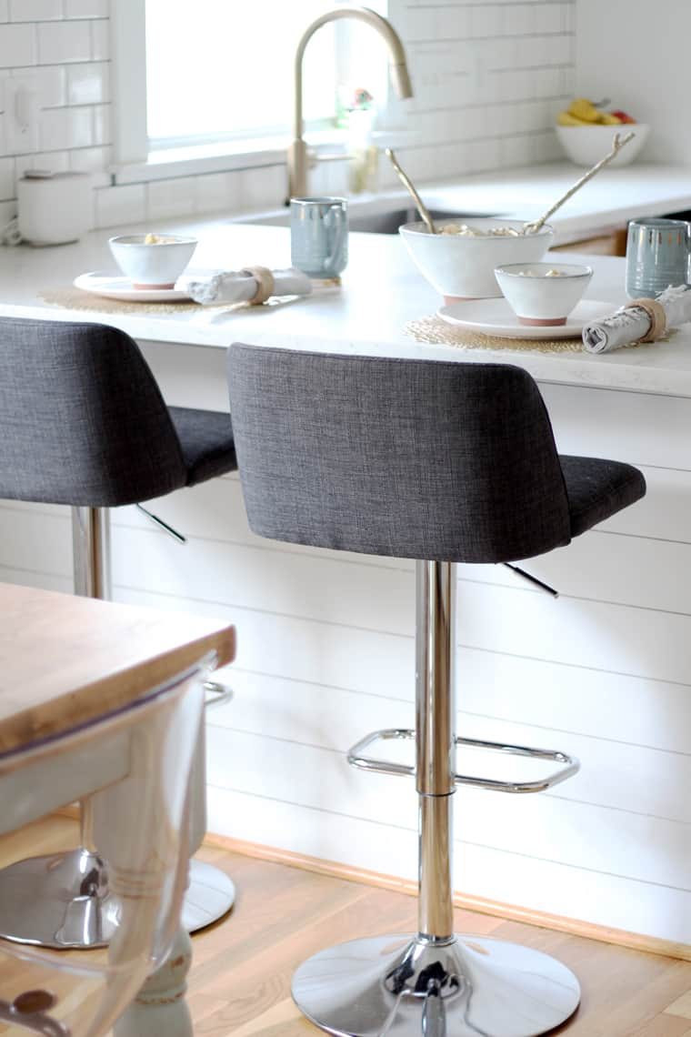 Gray tweed barstools from At Home Stores