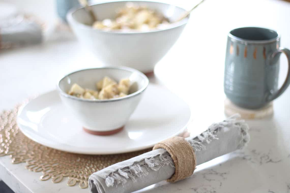 Cozy Fall Decorating Ideas. Potato salad in bowls with apple cider in a blue mug.