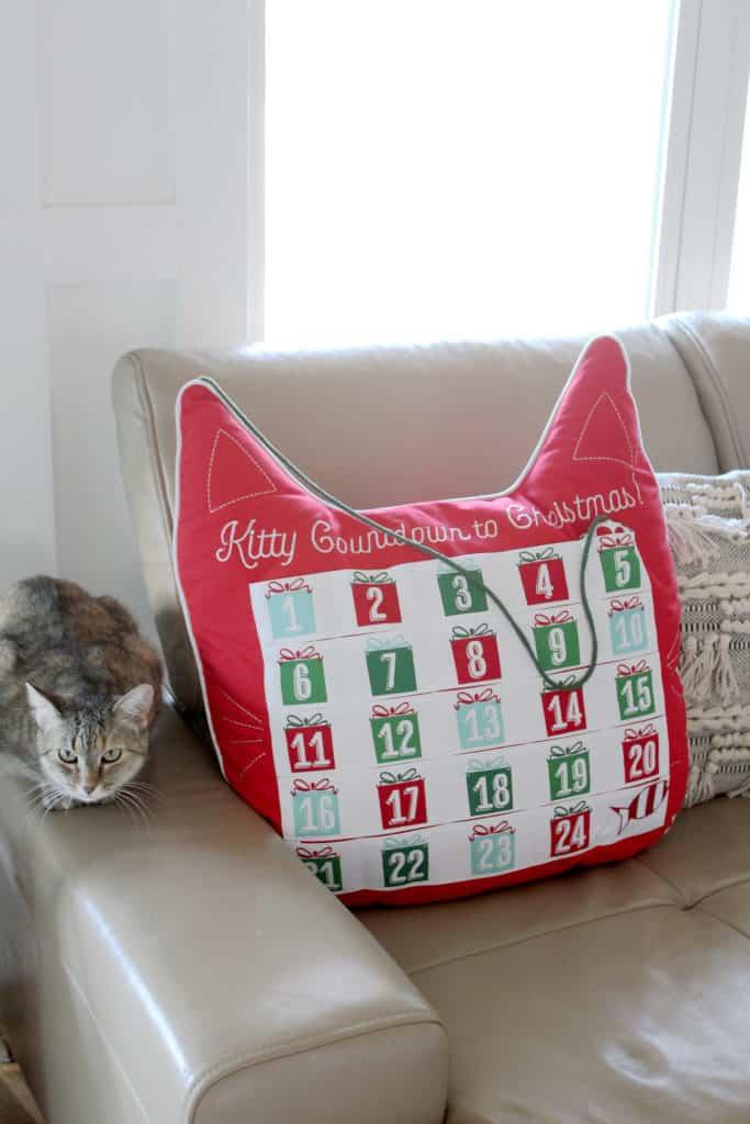 2018 Christmas Home Tour: A Kid-Friendly Christmas cat pillow