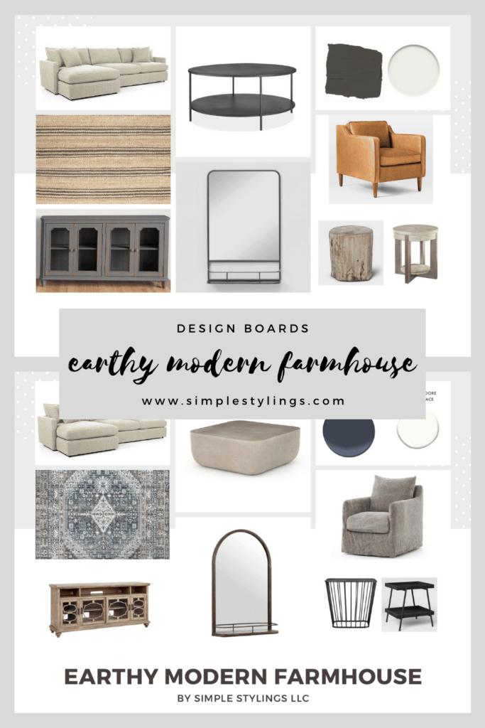 Earthy Modern Farmhouse Design Boards with Links pinterest