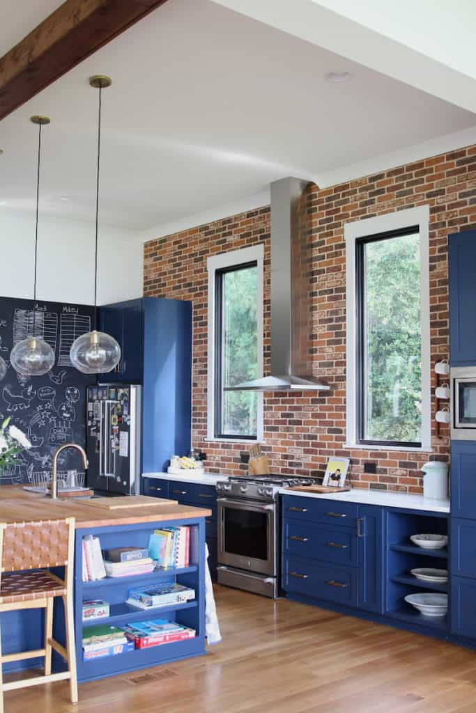 Kitchen with brick wall accent